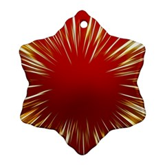 Color Gold Yellow Background Snowflake Ornament (2 Side)