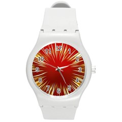 Color Gold Yellow Background Round Plastic Sport Watch (m)