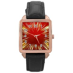 Color Gold Yellow Background Rose Gold Leather Watch