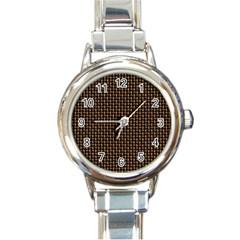 Fabric Pattern Texture Background Round Italian Charm Watch