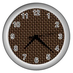 Fabric Pattern Texture Background Wall Clocks (silver)