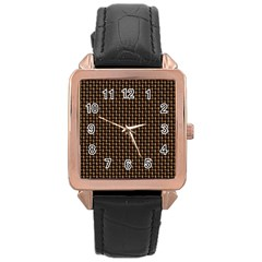 Fabric Pattern Texture Background Rose Gold Leather Watch