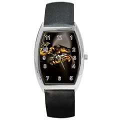Fractal Mathematics Abstract Barrel Style Metal Watch