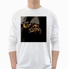 Fractal Mathematics Abstract White Long Sleeve T Shirts