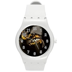 Fractal Mathematics Abstract Round Plastic Sport Watch (m)