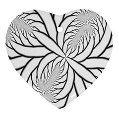 Fractal Symmetry Pattern Network Ornament (heart)