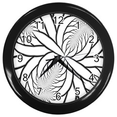 Fractal Symmetry Pattern Network Wall Clocks (Black)