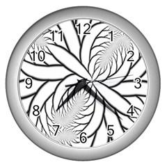 Fractal Symmetry Pattern Network Wall Clocks (Silver)