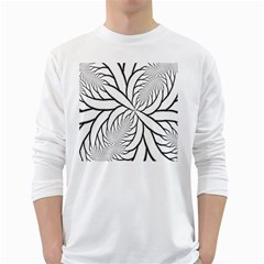 Fractal Symmetry Pattern Network White Long Sleeve T Shirts
