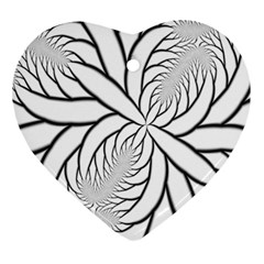 Fractal Symmetry Pattern Network Heart Ornament (2 Sides)