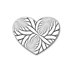 Fractal Symmetry Pattern Network Rubber Coaster (heart)