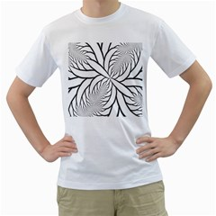 Fractal Symmetry Pattern Network Men s T Shirt (white)