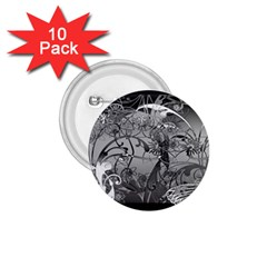 Kringel Circle Flowers Butterfly 1.75  Buttons (10 pack)