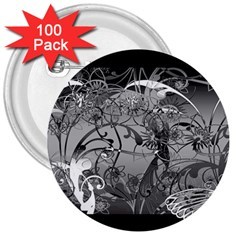 Kringel Circle Flowers Butterfly 3  Buttons (100 Pack)