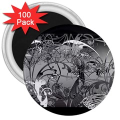Kringel Circle Flowers Butterfly 3  Magnets (100 Pack)
