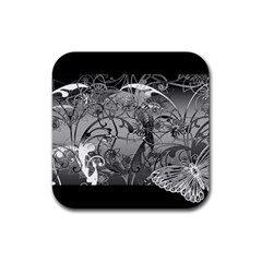 Kringel Circle Flowers Butterfly Rubber Square Coaster (4 Pack)
