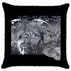 Kringel Circle Flowers Butterfly Throw Pillow Case (black)