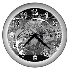 Kringel Circle Flowers Butterfly Wall Clocks (silver)
