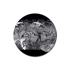 Kringel Circle Flowers Butterfly Rubber Round Coaster (4 Pack)