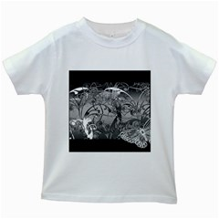 Kringel Circle Flowers Butterfly Kids White T Shirts