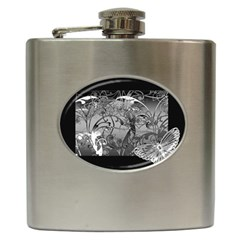 Kringel Circle Flowers Butterfly Hip Flask (6 Oz)