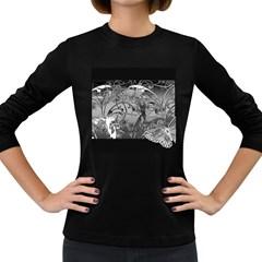 Kringel Circle Flowers Butterfly Women s Long Sleeve Dark T Shirts