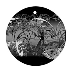 Kringel Circle Flowers Butterfly Round Ornament (two Sides)