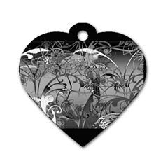 Kringel Circle Flowers Butterfly Dog Tag Heart (one Side)