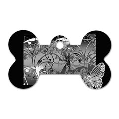 Kringel Circle Flowers Butterfly Dog Tag Bone (two Sides)