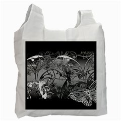 Kringel Circle Flowers Butterfly Recycle Bag (one Side)