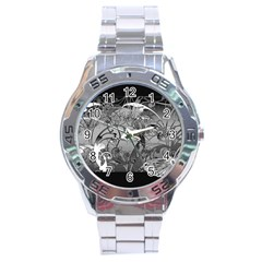 Kringel Circle Flowers Butterfly Stainless Steel Analogue Watch