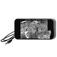 Kringel Circle Flowers Butterfly Portable Speaker (Black)