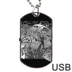 Kringel Circle Flowers Butterfly Dog Tag Usb Flash (one Side)