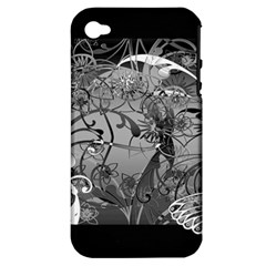 Kringel Circle Flowers Butterfly Apple Iphone 4/4s Hardshell Case (pc+silicone)