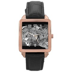 Kringel Circle Flowers Butterfly Rose Gold Leather Watch