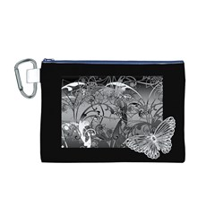 Kringel Circle Flowers Butterfly Canvas Cosmetic Bag (m)