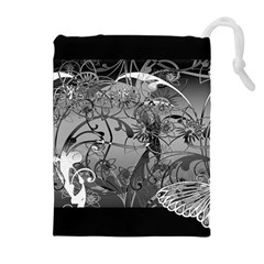 Kringel Circle Flowers Butterfly Drawstring Pouches (extra Large)