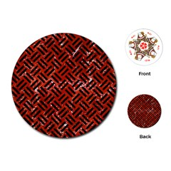 Woven2 Black Marble & Red Marble (r) Playing Cards (round)