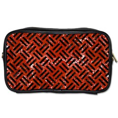 Woven2 Black Marble & Red Marble (r) Toiletries Bag (one Side)