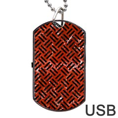 Woven2 Black Marble & Red Marble (r) Dog Tag Usb Flash (one Side)