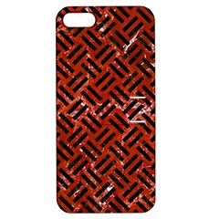 Woven2 Black Marble & Red Marble (r) Apple Iphone 5 Hardshell Case With Stand