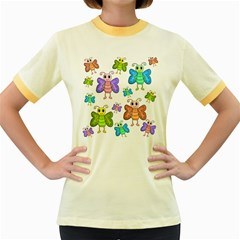 Colorful, cartoon style butterflies Women s Fitted Ringer T-Shirts
