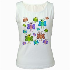 Colorful, cartoon style butterflies Women s White Tank Top