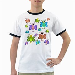Colorful, cartoon style butterflies Ringer T-Shirts
