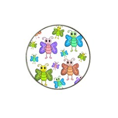 Colorful, cartoon style butterflies Hat Clip Ball Marker (10 pack)