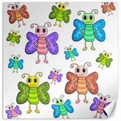Colorful, cartoon style butterflies Canvas 16  x 16