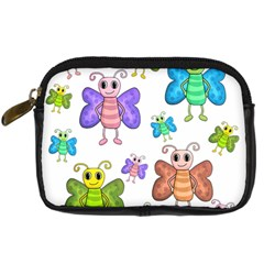 Colorful, cartoon style butterflies Digital Camera Cases