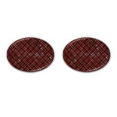 Woven2 Black Marble & Red Marble Cufflinks (oval)
