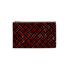 Woven2 Black Marble & Red Marble Cosmetic Bag (small)