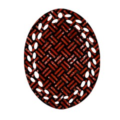 Woven2 Black Marble & Red Marble Oval Filigree Ornament (two Sides)
